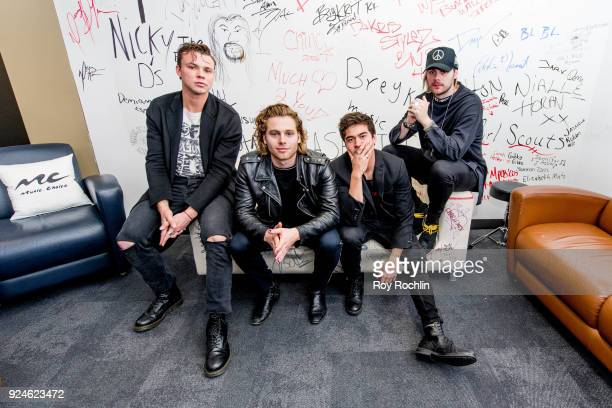Ashton Irwin Luke Hemmings Calum Hood and Michael Clifford of 5 Seconds of Summer visit Music Choice on February 26 2018 in New York City at Music...