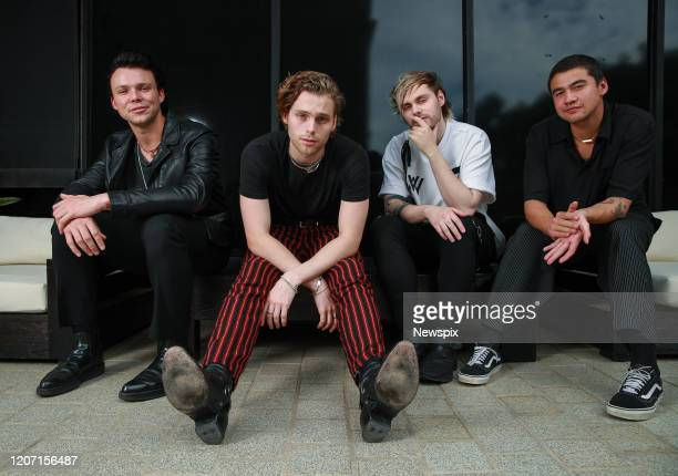 Ashton Irwin, Luke Hemmings, Michael Clifford and Calum Hood of 5 Seconds of Summer pose during a photo shoot in Sydney, New South Wales.