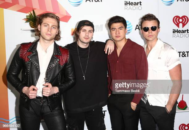 Ashton Irwin Michael Clifford Calum Hood and Luke Hemmings of 5 Seconds of Summer arrive at the 2018 iHeartRadio Wango Tango by ATT at Banc of...