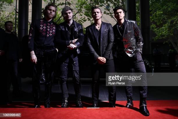 Ashton Irwin Michael Clifford Luke Hemmings and Calum Hood of 5 Seconds of Summer arrive for the 32nd Annual ARIA Awards 2018 at The Star on November...