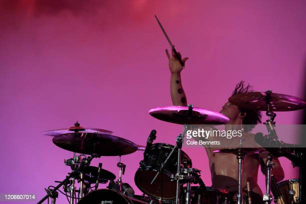 Ashton Irwin of 5 Seconds of Summer performs during Fire Fight Australia at ANZ Stadium on February 16, 2020 in Sydney, Australia.