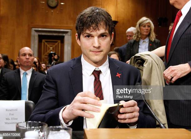 Ashton Kutcher Actor and CoFounder of Thorn Digital Defenders of Children arrives at a Senate Foreign Relations Committee hearing on Ending Modern...