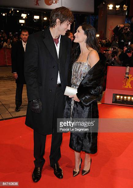 Ashton Kutcher and actress Demi Moore attend the premiere for 'Happy Tears' as part of the 59th Berlin Film Festival at the Berlinale Palast on...
