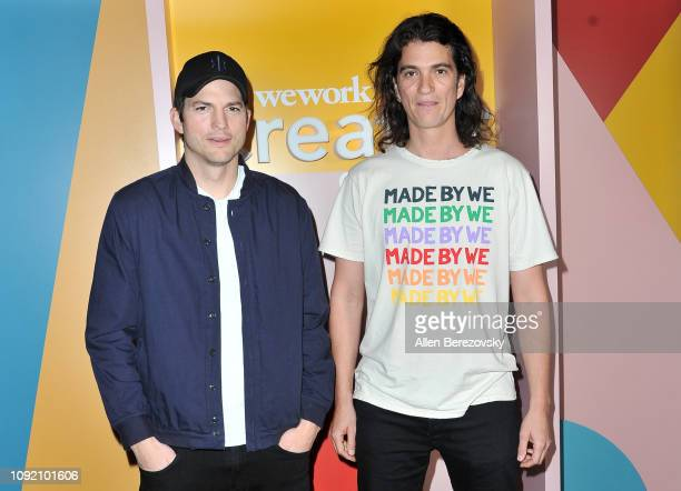 Ashton Kutcher and Adam Neumann attend WeWork Creator Awards Global Finals at Microsoft Theater on January 09, 2019 in Los Angeles, California.
