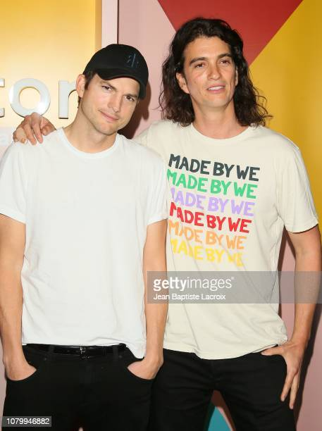 Ashton Kutcher and Adam Neumann attend WeWork Presents Second Annual Creator Global Finals at Microsoft Theater on January 9 2019 in Los Angeles...