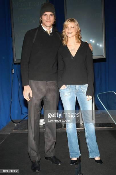Ashton Kutcher and Amy Smart during Ashton Kutcher and Amy Smart Announce the Nominees for The Ninth Annual AOL Moviegoer Awards at The Mandarin...