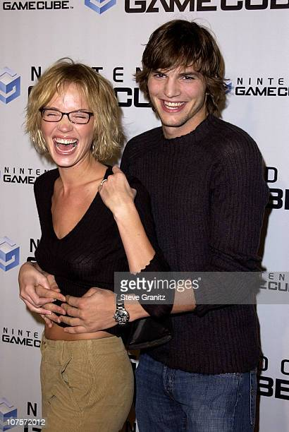 Ashton Kutcher and Ashley Scott during Nintendo Game Cube Premiere Party 2001 at Private Club in Hollywood California