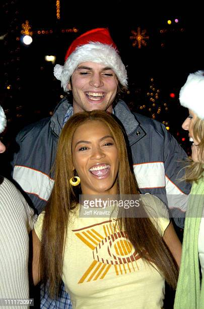 Ashton Kutcher and Beyonce during Beyonce Gets Punk'd at Universal Studios Hollywood in Universal City California United States