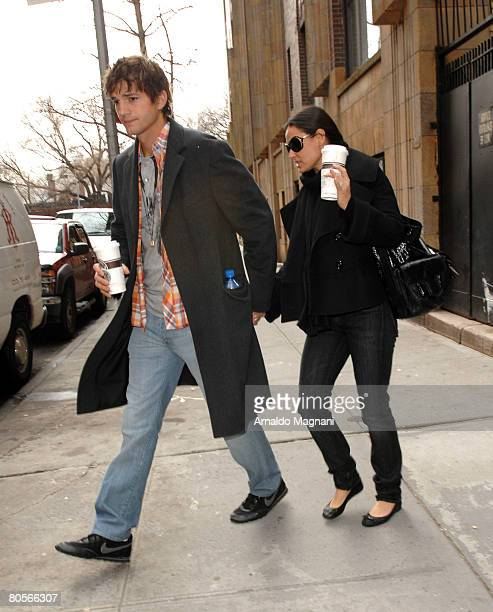 Ashton Kutcher and Demi Moore are seen as they leave a friend's apartment in the Upper West Side April 8 2008 in New York City