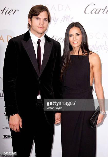 Ashton Kutcher and Demi Moore attend the Charity Gala at The RitzCarlton on October 30 2010 in Moscow Russia Demi Moore and Ashton Kutcher were...