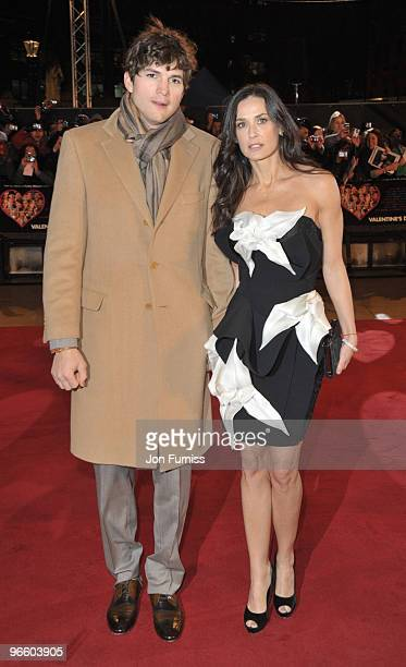 Ashton Kutcher and Demi Moore attend the European Premiere of 'Valentine's Day' at Odeon Leicester Square on February 11, 2010 in London, England.