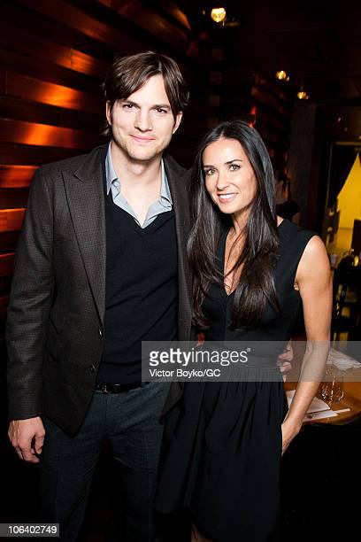 Ashton Kutcher and Demi Moore attend the Private Dinner after their Charity Gala at The RitzCarlton on October 31 2010 in Moscow Russia