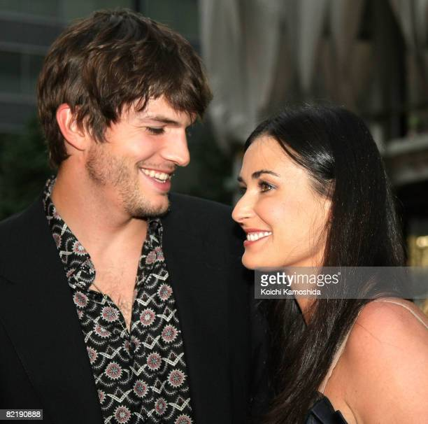 Ashton Kutcher and Demi Moore attend What Happens In Vegas Japan Premiere at Marunouchi My Plaza on August 6 2008 in Tokyo Japan The film will open...