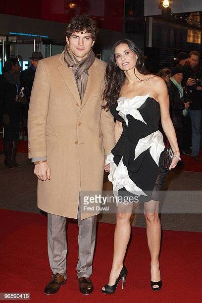 Ashton Kutcher and Demi Moore attends the European Premiere of 'Valentine's Day' at Odeon Leicester Square on February 11, 2010 in London, England.