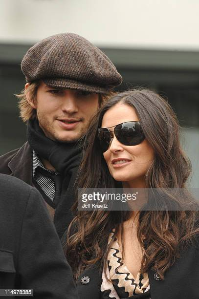 Ashton Kutcher and Demi Moore during Bruce Willis of Dreamworks' Over The Hedge Honored With A Star On The Hollywood Walk of Fame at Hollywood Walk...