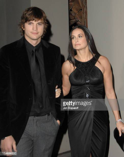 Ashton Kutcher and Demi Moore during Gianni and Donatella Versace Receive The Rodeo Drive Walk of Style Award Arrivals at Beverly Hills City Hall in...
