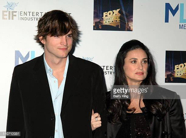 Ashton Kutcher and Demi Moore during Mentor LA's Promise Gala Honoring Tom Cruise Arrivals at 20th Century Fox Studios in Los Angeles California...