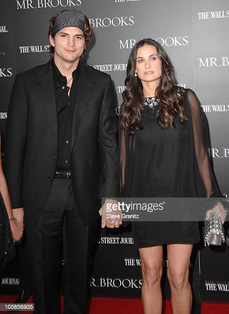 Ashton Kutcher and Demi Moore during 'Mr Brooks' Los Angeles Premiere Arrivals at Grauman's Chinese Theatre in Hollywood California United States