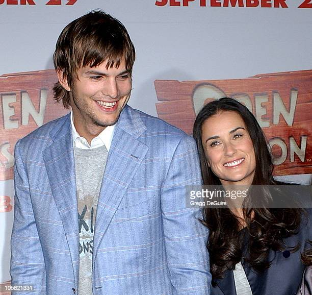 Ashton Kutcher and Demi Moore during 'Open Season' Los Angeles Premiere Arrivals at Greek Theatre in Los Angeles California United States