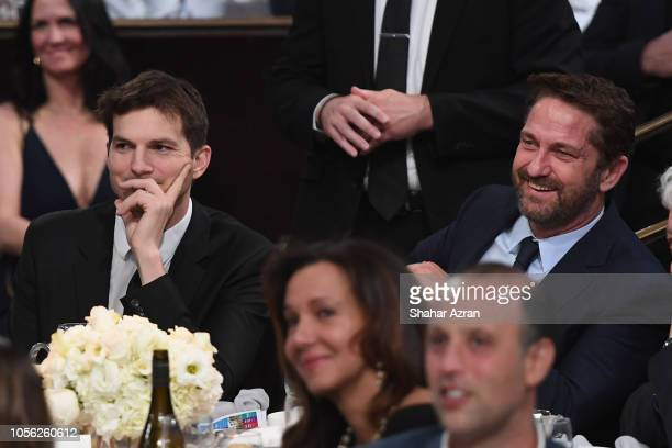 Ashton Kutcher and Gerard Butler attend Friends of The Israel Defense Forces Western Region Gala at The Beverly Hilton Hotel on November 1 2018 in...