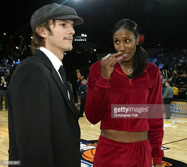 Ashton Kutcher and Lisa Leslie during NBA AllStar Celebrity Game at Los Angeles Convention Center in Los Angeles California United States