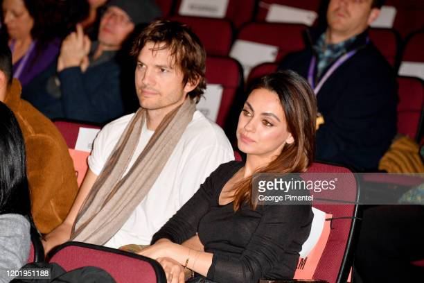 Ashton Kutcher and Mila Kunis attend the 2020 Sundance Film Festival Four Good Days Premiere at Eccles Center Theatre on January 25 2020 in Park City...