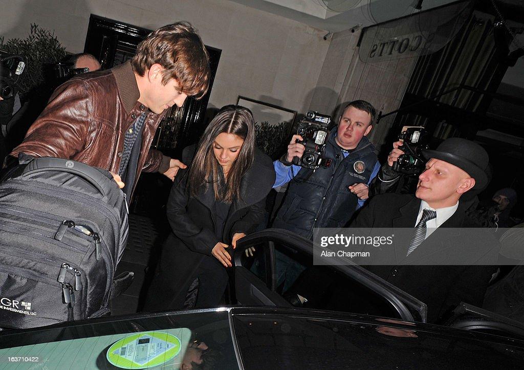 Ashton Kutcher and Mila Kunis sighting at Scotts restaurant on March 14, 2013 in London, England.
