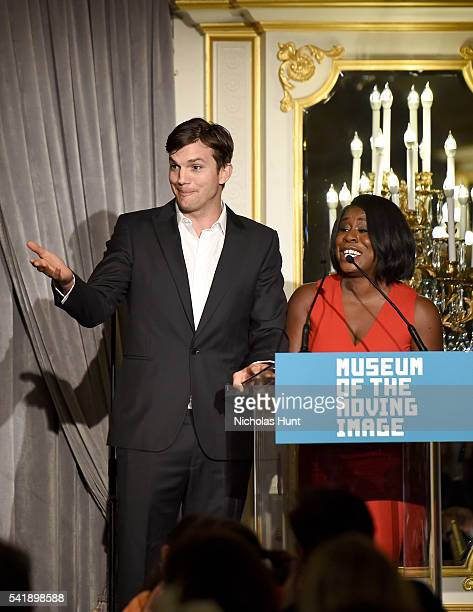 Ashton Kutcher and Uzo Aduba speak at the Museum of the Moving Image honoring Netflix Chief Content Officer Ted Sarandos and Seth Meyers at St Regis...