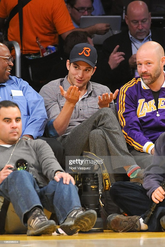 Ashton Kutcher attends a basketball game between the San Antonio Spurs and the Los Angeles Lakers at Staples Center on November 13, 2012 in Los Angeles, California.