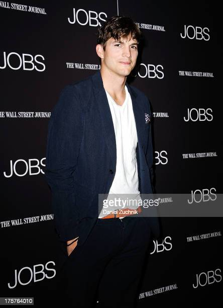 """Ashton Kutcher attends the """"Jobs"""" pemiere at The Museum of Modern Art on August 7, 2013 in New York City."""