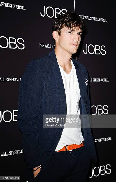 Ashton Kutcher attends the Jobs premiere at The Museum of Modern Art on August 7 2013 in New York City