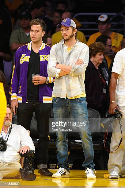Ashton Kutcher attends the Los Angeles Lakers and Oklamhoma City Thunder Game 4 of the Western Conference Semifinals in the 2012 NBA Playoffs on May...