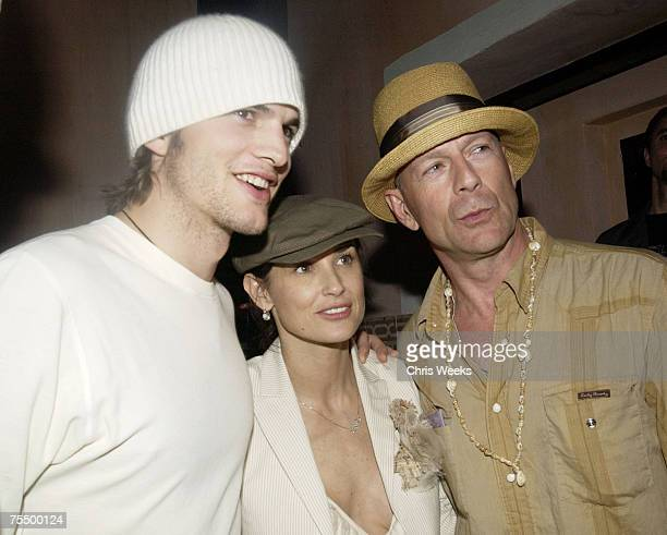 Ashton Kutcher Demi Moore and Bruce Willis at the The Spider Room in Hollywood California