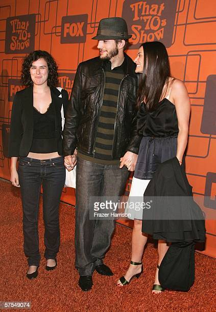 Ashton Kutcher Demi Moore and her daughter Rumer Willis arrive at the Fox Television 'That 70s Show' wrap party held at Tropicana at The Roosevelt...