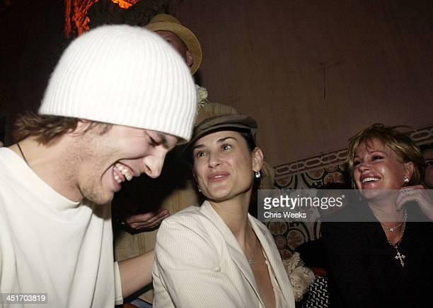 Ashton Kutcher Demi Moore and Melanie Griffith during The Spider Club at the Avalon Hollywood Hosts Bruce Willis' 49th Birthday Party at The Spider...