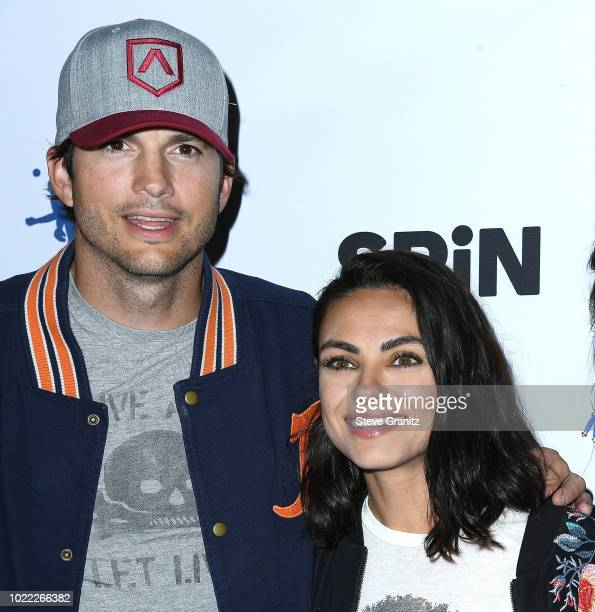 Ashton Kutcher Mila Kunis arrives at the 6th Annual PingPong4Purpose at Dodger Stadium on August 23 2018 in Los Angeles California