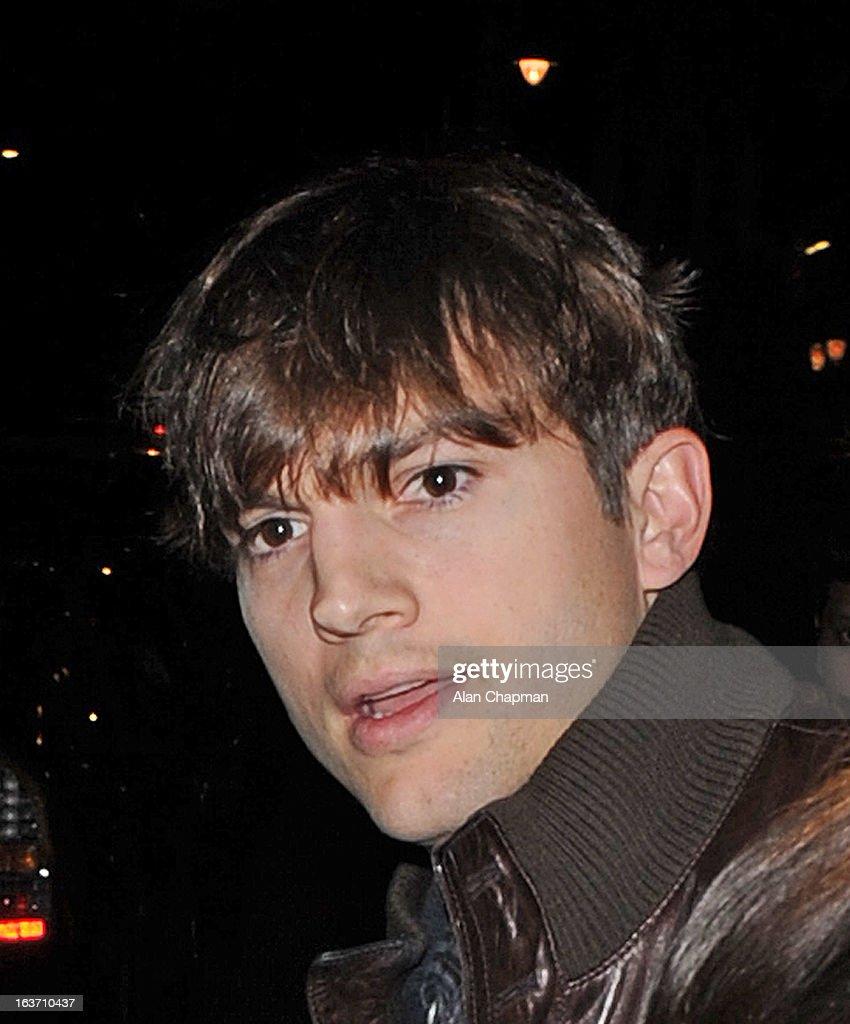 Ashton Kutcher sighting ar Scotts restaurant on March 14, 2013 in London, England.