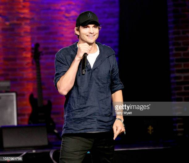 Ashton Kutcher speaks onstage during Nashville Creator Awards hosted by WeWork at Marathon Music Works on September 13, 2018 in Nashville, Tennessee.