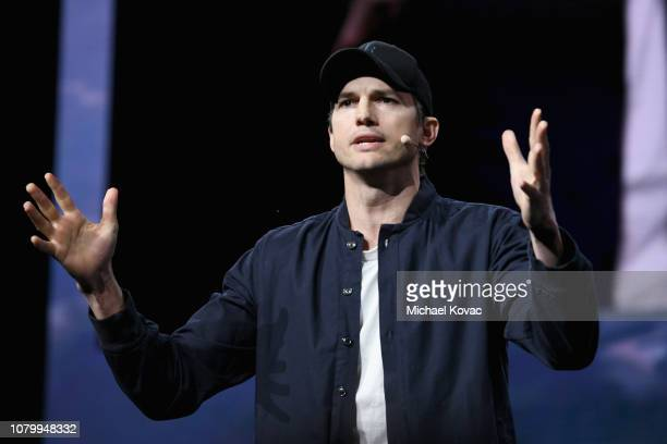 Ashton Kutcher speaks onstage during WeWork Presents Second Annual Creator Global Finals at Microsoft Theater on January 9 2019 in Los Angeles...