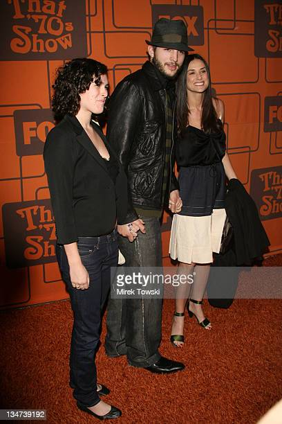 Ashton Kutcher with Demi Moore and her daughter Rumer