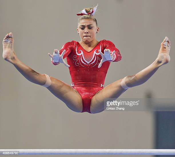 Ashton Locklear of the United States performs on the uneven bars during the Women's Team Final on day two of the 45th Artistic Gymnastics World...