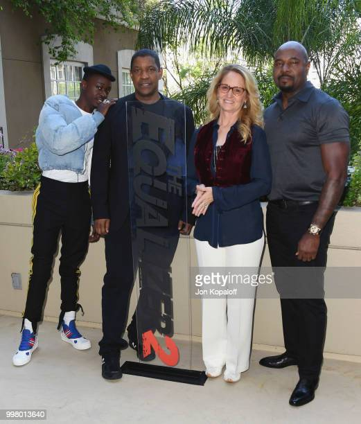 Ashton Sanders Denzel Washington Melissa Leo and Antoine Fuqua attend the photo call for Columbia Pictures' The Equalizer 2 at the Four Seasons Hotel...