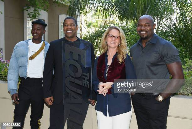 Ashton Sanders Denzel Washington Melissa Leo and Antoine Fuqua attend the photo call for Columbia Pictures' 'The Equalizer 2' at the Four Seasons...