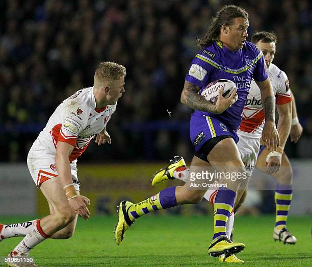 Ashton Sims breaks through for Warrington during the First Utility Super League match between Warrington Wolves and St Helens at Halliwell Jones...