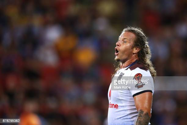 Ashton Sims of Fiji catches his breath during the 2017 Rugby League World Cup Semi Final match between the Australian Kangaroos and Fiji at Suncorp...