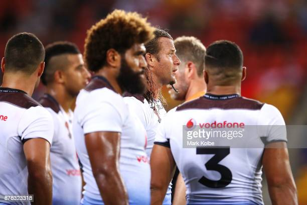 Ashton Sims of Fiji looks dejected after an Australia try during the 2017 Rugby League World Cup Semi Final match between the Australian Kangaroos...