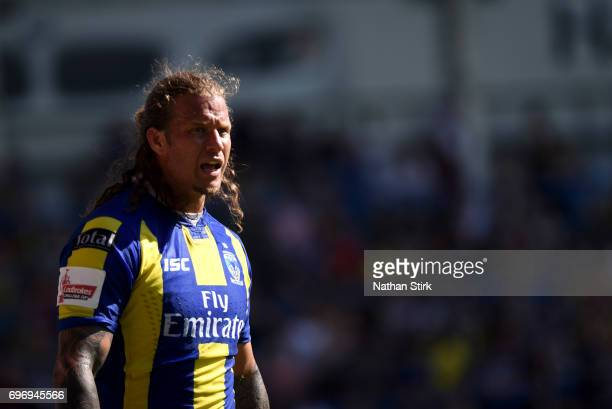 Ashton Sims of Warrington Wolves looks on during the Ladbrokes Challenge Cup QuarterFinal match between Warrington Wolves and Wigan Warriors at...