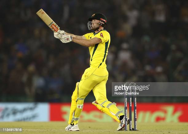 Ashton Turner of Australia bats during game four of the One Day International series between India and Australia at Punjab Cricket Association...