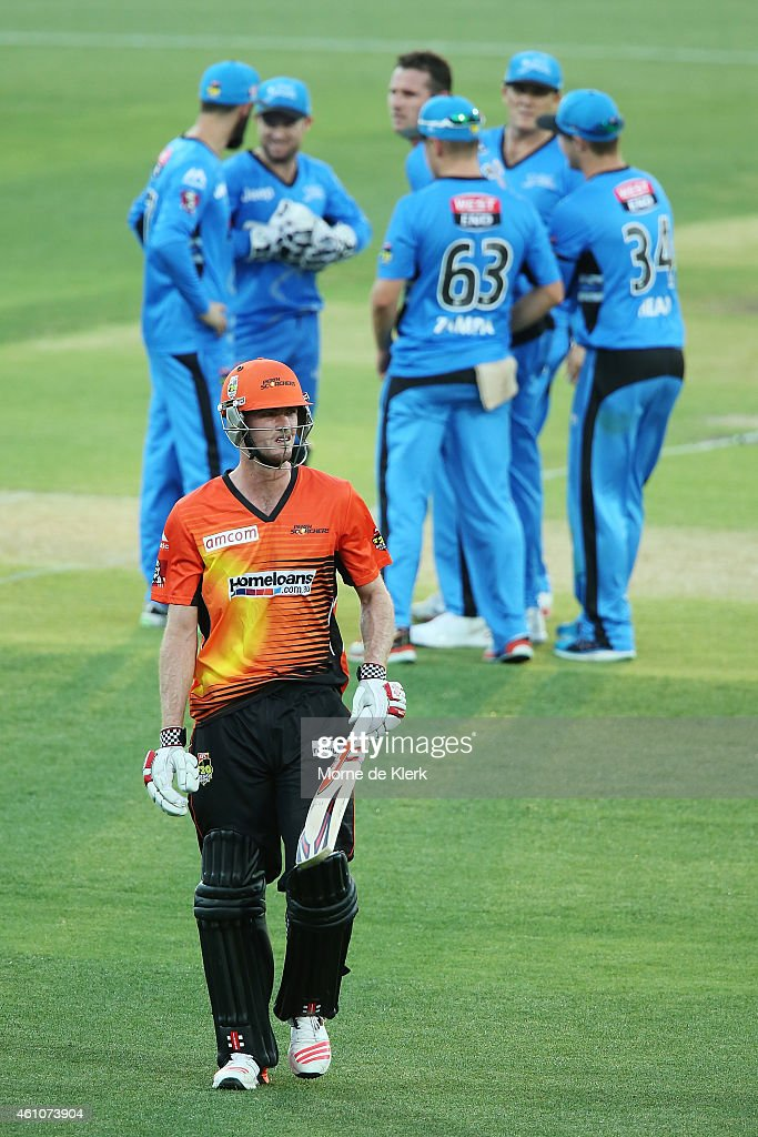 Ashton Turner of the Perth Scorchers leaves the field after getting out to Shaun Tait of the Adelaide Strikers during the Big Bash League match between the Adelaide Strikers and the Perth Scorchers at Adelaide Oval on January 6, 2015 in Adelaide, Australia.