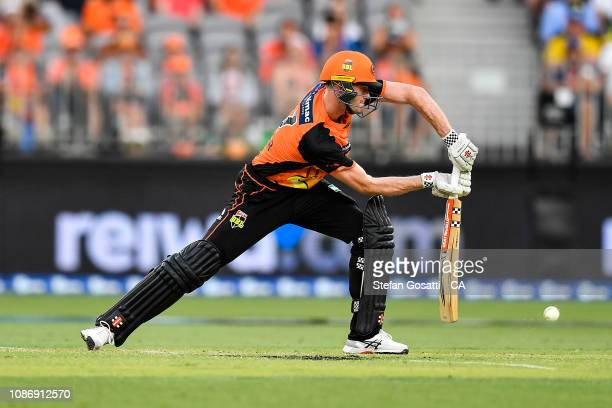 Ashton Turner of the Scorchers bats during the Big Bash League match between the Perth Scorchers and the Adelaide Strikers at Optus Stadium on...